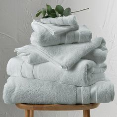 Buy Bathroom > Towels > Classic Double Border Towels - Platinum from The White Company