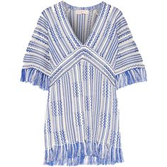 Tory Burch Gwen frayed linen and cotton-blend tunic (6,785 MXN) ❤ liked on Polyvore featuring tops, tunics, blue, white top, stripe top, white boho top, white bohemian top and boho tunic