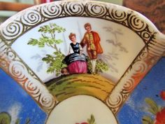 Antique Dresden Quatrefoil Helena Wolfsohn Blue Demitasse Cup And Saucer 3