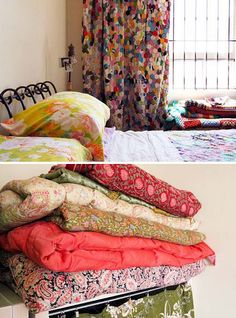 Fabulous patchwork curtains and bed nice too