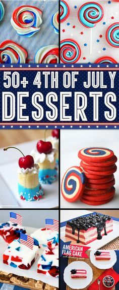 50 Delicious Of July Desserts Patriotic Desserts, 4th Of July Desserts, Fourth Of July Food, 4th Of July Celebration, 4th Of July Party, Holiday Desserts, Holiday Treats, July 4th, Patriotic Crafts