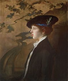 Edmund C. Tarbell (1862–1938) Mary with a Black Hat, 1916–1920 Oil on canvas, 30 x 25 inches Collection of The Thomas H. and  Diane DeMell Jacobsen Ph.D. Foundation