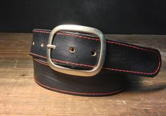 Black Leather Red Stitched Snap Belt by reganflegan on Etsy https://www.etsy.com/listing/453764196/black-leather-red-stitched-snap-belt