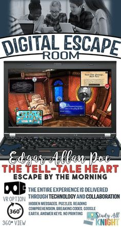 This Tell-Tale Heart Edgar Allan Poe Digital Escape Room is an innovative breakout game that a. Edgar Allan Poe, Escape Room, English Teachers, Teaching English, English Classroom, Teaching American Literature, English Literature, Breakout Game, The Tell Tale Heart
