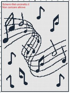 Cross Stitch Music, Cross Stitch Borders, Cross Stitch Designs, Cross Stitching, Cross Stitch Patterns, Crochet Blanket Edging, Crochet Chart, Filet Crochet, Embroidery Patterns