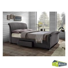 The Bacelona Grey Sleigh Bed From Birlea Is A Contemporary Style Upholstered In Linen With Dark Rubberwood Feet Two Under Drawers For