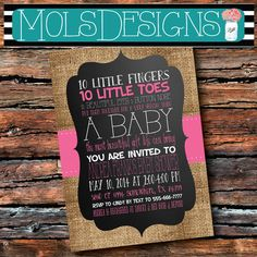 Any Color Girl BURLAP Chalkboard TEN FINGERS Ten Toes Baby Shower Sip N See Tea Party Invitation Coral Pink Grey Teal Purple Red White Blue