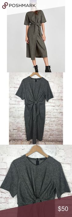 "NWT Zara Knotted dress Dark Grey Medium NWT Zara Women Knotted dress 8541/795/922 Dark Grey Medium M  Sold out!  Wool Blend Measurements :  Armpit to armpit: 18"" laying flat unstretched  Sleeve: 11.5""  Shoulder to bottom: 46""  Check out my other items! Zara Dresses Midi"