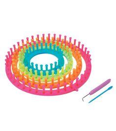 Easy Knitting Round Loom Set-Neon ColorsEasy Knitting Round Loom Set-Neon Colors,
