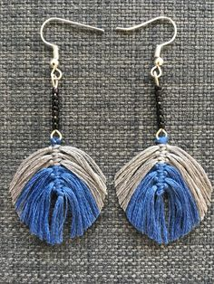 Macrame feather earring / Macrame leaf earring / Statement earring / Unique gifts by ByDashka on Etsy