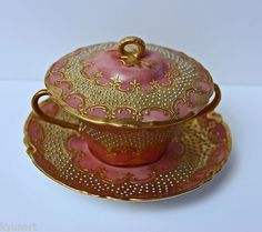 A Haviland France Gilt and Jeweled Two Handle Lidded Bowl on A Saucer 1894 1931
