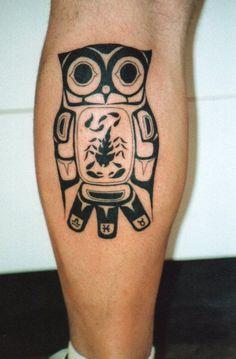 Haida Owl Tattoo On Leg