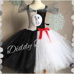 101 Dalmatians Tutu Dress. Cruella Tutu Dress. Beautiful & lovingly handmade. All characters and colours available Price varies on size, starting from £25. Please message us for more info. Find us on Facebook www.facebook.com/DiddyDarlings1 or our website www.diddydarlings.co.uk