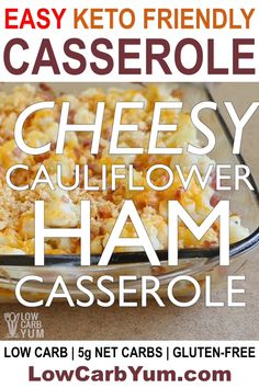 An easy keto cauliflower and ham casserole perfect for repurposing leftover ham. The low carb ham casserole recipe makes an easy keto dinner idea. with ham leftovers Cheesy Keto Cauliflower Ham Casserole Diet Dinner Recipes, Keto Dinner, Keto Recipes, Breakfast Recipes, Keto Desserts, Breakfast Ideas, Diet Breakfast, Keto Snacks, Breakfast Hash