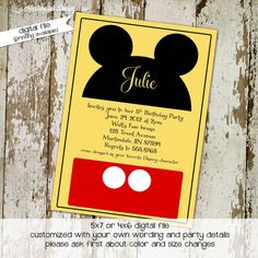 Mickey Mouse Disney birthday party invitations or baby shower invitations, digital, printable file (item 211)