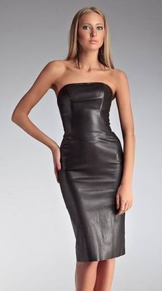 47 Wonderful Leather Dress Design Ideas That Inspire You Sexy Dresses, Sexy Outfits, Dress Outfits, Fashion Outfits, Faux Leather Dress, Black Leather Dresses, Leather Outfits, Leather And Lace, Botas Sexy