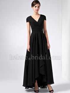 A-Line High Low V-Neck Ankle-Length Chiffon Elastic Silk-like Satin Mother of The Bride Dress - US$ 149.99 - Style MD2514 - Helene Bridal