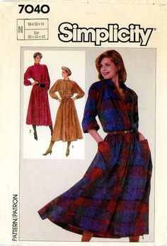 Vintage Sewing Pattern - 1985 Misses Dress with Flared Skirt, Simplicity 7040 Sizes 10, 12, 14