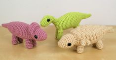 Dinosaurs Set 3X Expansion Pack crochet patterns by PlanetJune: Protoceratops, Iguanodon, Panoplosaurus
