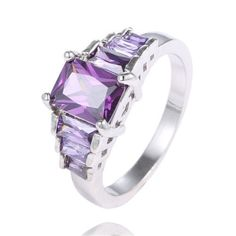 Elegant .925 Sterling Silver Purple Gemstone Ring Rhinestone Accents Size 8 NEW #Band