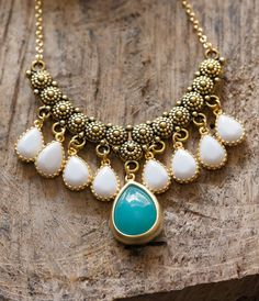 Unique Gold Bib Statement Necklace with Turquoise