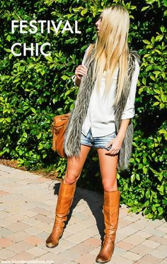 LOOK OF THE WEEK – FESTIVAL CHIC | BLONDER AMBITIONS. fashion. fashion blog. coachella. festival wear. what to wear to a music festival. what to wear to coachella. california style. laid back. feminine. hippie. classic. fur vest. leather boots. blonde. white blouse. denim shorts.