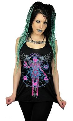 As Above So Below Tank Top Female Tank Top with a Multi-Color Print that Glows in a Black light on the Front. Rave Tops, Summer Tank Tops, Future Fashion, School Outfits, Colorful Shirts, Crop Tops, Female, Trending Outfits, School Clothing