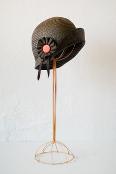 1930s black straw cloche hat with ribbon~Image © Adored Vintage