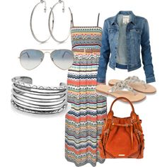 Very cute maxi dress.love it paired with the denim jacket I see this outfit in my very near future! Mode Outfits, Dress Outfits, Casual Outfits, Fashion Outfits, Fashionable Outfits, Dress Fashion, Fashion Clothes, Summer Outfits, Dress Shoes