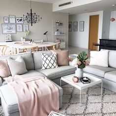 Cute Scandinavian Interior Design Ideas To Upgrade The Beautiful Of Your Living Room Small Living Dining, Open Plan Kitchen Dining Living, Small Living Rooms, Living Room Designs, Dining Living Room Combo, Open Plan Living, Living Spaces, Scandi Living Room, Living Room Interior