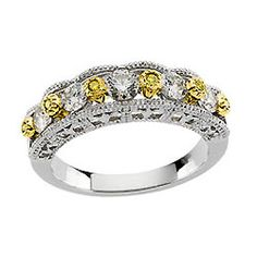 White & Yellow Diamond Anniversary Wedding Band - gonna be my wedding band for when i get married