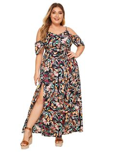 Milumia Women's Plus Size Cold Shoulder Floral Slit Hem Tropical Summer Maxi Dress Casual Dresses Plus Size, Casual Dresses For Women, Nice Dresses, Clothes For Women, Summer Maxi, Junior Dresses, Shoulder Dress, Cold Shoulder, Floral
