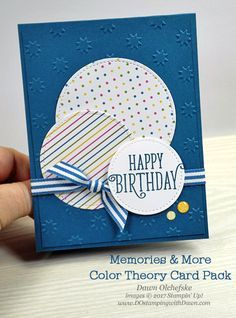 & More Week: Color Theory Stampin' Up! Color Theory Memories & More Card Pack projects shared by Dawn OlchefskeStampin' Up! Color Theory Memories & More Card Pack projects shared by Dawn Olchefske Bday Cards, Birthday Cards For Men, Handmade Birthday Cards, Greeting Cards Handmade, Diy Birthday, Simple Handmade Cards, Simple Birthday Cards, Male Birthday, Handmade Art