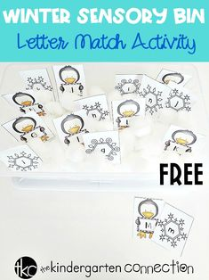 FREE Winter Sensory Bin Alphabet Match Printable Activity for Pre-K/Kinder Grab our FREE Winter Sensory Bin Alphabet Match for your Pre-K and Kindergarten literacy center or small groups! Alphabet Activities, Literacy Activities, Language Activities, Winter Fun, Winter Theme, Winter Craft, Atelier Theme, Abc Centers, Literacy Centers