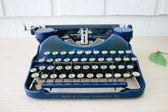 Blue Smith Corona 4 Working Typewriter Vintage Portable Manual Typewriter