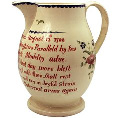 Early English Creamware Pottery Pitcher Dated 1788