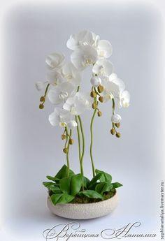 Купить Орхидея из холодного фарфора. Фаленопсис - белый, орхидея фаленопсис, орхидея из глины, орхидея, орхидеи
