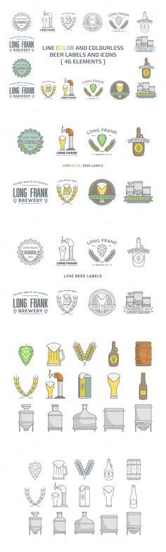 Line beer labels and icons #design Download: https://creativemarket.com/i-ro/386300-Line-beer-labels-and-icons.?u=ksioks