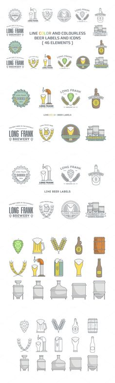 Line beer labels and icons #design Download: https://creativemarket.com/i-ro/386300-Line-beer-labels-and-icons.?u=ksioks