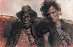 Keith Richards and John Lee Hooker (painted by Sebastian Kruger)