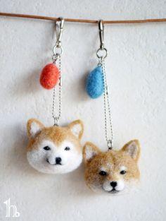 羊毛柴犬☆ストラップ