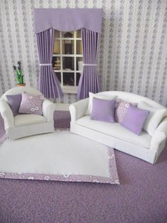 Handmade miniature dolls house living room set 12th scale couch, chair, cushions, rug  and curtains lilac white on Etsy, $32.00 AUD
