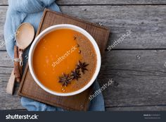 Pumpkin Soup With Spices. Winter Mood. Christmas Dinner. Lunch In A Rustic Style. Copy Space. Стоковые фотографии 519353071 : Shutterstock