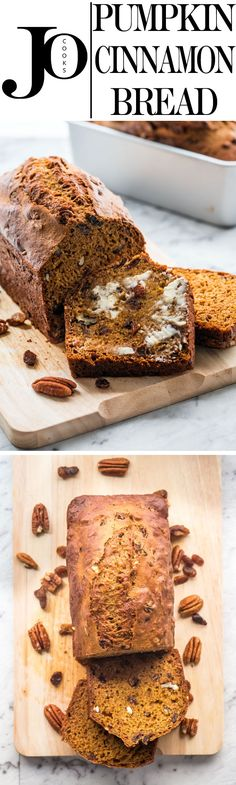 This pumpkin cinnamon bread is soft, moist, delicious and loaded with raisins and pecans. Super easy to make and completely irresistible.