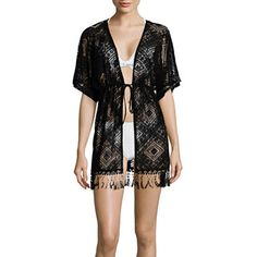 jcpenney.com | Arizona Dolman-Sleeve Fringed Tie-Front Kimono Swim Cover-Up - Juniors