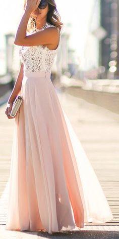 Pink + ivory maxi dress.