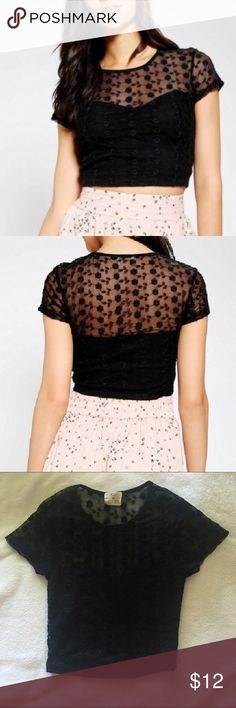 Black crop top floral lace mesh Very cute crop top with sweetheart cut on the chest area. Worn only once. Great condition. Brand is Pjns and Needles from Urban Outfitters. 💕😍 Urban Outfitters Tops Crop Tops