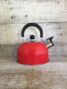 Enamel Tea Kettle Retro Red Metal Teapot with Resin Handle Vintage Whistling Tea Kettle Red Teapot Mid Century Retro Kitchen Red Kitchen by TheDustyOldShack on Etsy