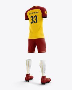 Men S Full Soccer Team Kit Mockup Hero Back Shot In Apparel Mockups On Yellow Images Object Mockups In 2020 Clothing Mockup Design Mockup Free Soccer Team