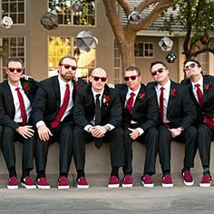 Even the fellas got in on the awesome red shoe action in this elegant backyard wedding in Phoenix, Arizona.